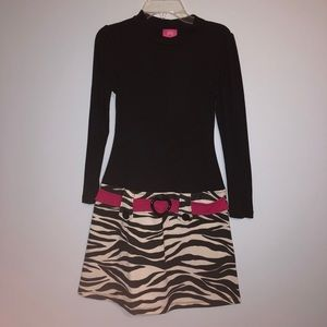 Long sleeve black and zebra print dress